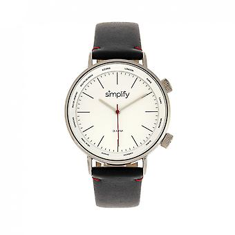 Simplify The 3300 Leather-Band Watch - Black/Silver
