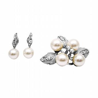 Oorbellen & broche Combo Holiday Gift Diamante Pearl Brooch & oorbellen