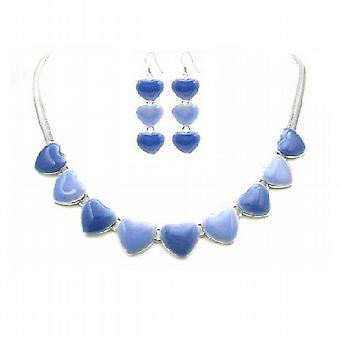 قلوب قلادة & أقراط المجوهرات تعيين مجموعة مجوهرات زرقاء خفيفة آند الظلام