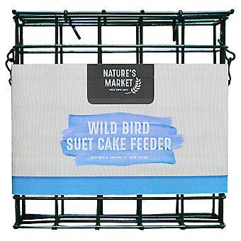 Natures Market BF030 Plastic Suet Fat Food Cake Garden Wild Bird Block Cage Feeder
