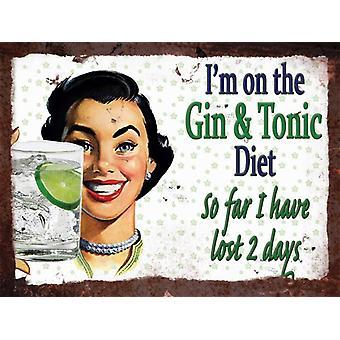 Jahrgang Metallwand Sign - Gin & tonische Diät