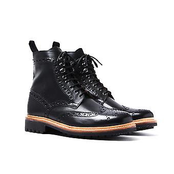 Grenson Fred Black Leather Brogue Boots