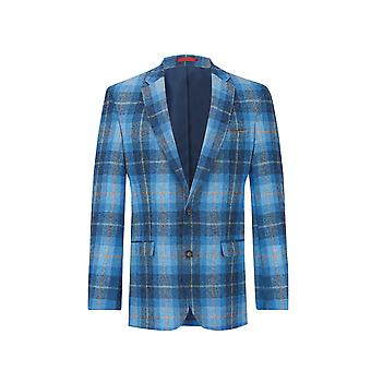 Scottish Harris Tweed Mens Blue Check Tweed Giacca Regolare Fit 100% Wool Notch Lapel