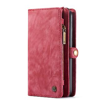 Huawei P30 CASEME Retro läder plånboksfodral Röd