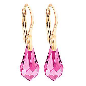 Ah! Biżuteria Kobiety's 11mm Light Rose Kryształy Z Swarovski Drop Kolczyki wisiorek.