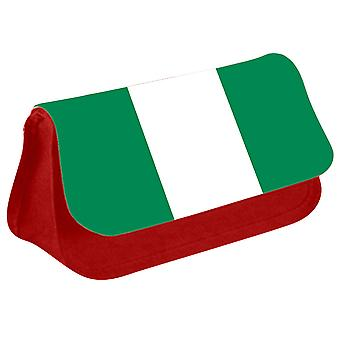Nigeria Flag Printed Design Pencil Case for Stationary/Cosmetic - 0128 (Red) by i-Tronixs