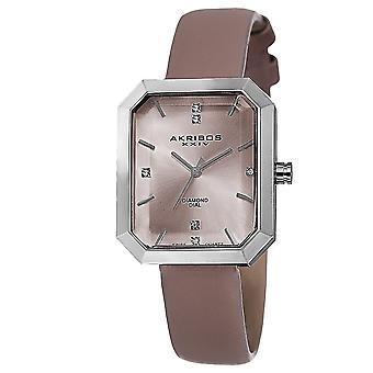 Akribos XXIV donna svizzero quarzo genuino diamante cinturino in pelle orologio AK749PK