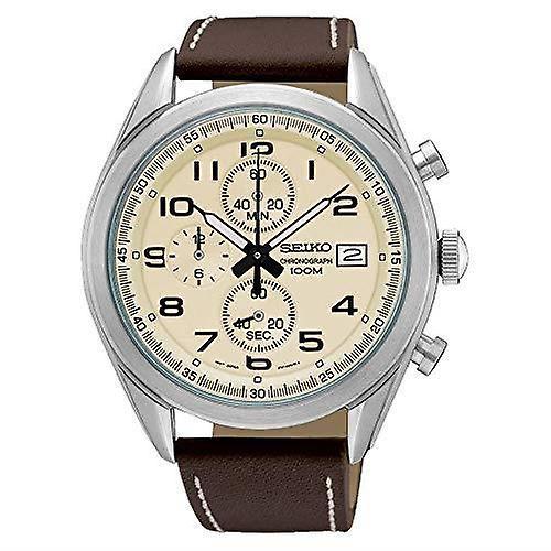 Seiko Chronograph Quartz Cream Dial Brown Leather Stitched Strap Mens Watch SSB273P1