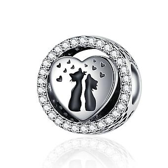 Sterling silver charm Cat couple
