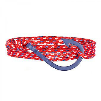 Holler Kirby Blue gestraald haak/rood, blauw en wit paracord armband HLB-03BUS-P02