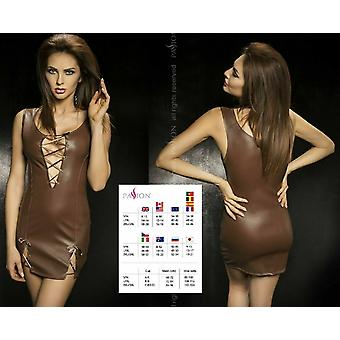 Passion Lingerie Carissa BROWN Faux Leather Mini Dress with Lacing