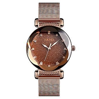 Skmei Women's Watch Rose Gold Mesh Bracelet Strap Sparkle Glitz Dial