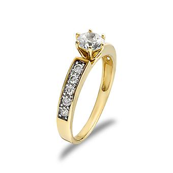 Jewelco London Ladies Solid 9ct Yellow Gold White Round Brilliant Cubic Zirconia Solitaire Shoulder Set Engagement Ring