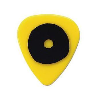 6 Pickboy Grip Lock Guitar Picks/Plectrums - Yellow Circle Medium 0.75mm
