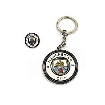 Manchester City Keychain keychain + Badge Man City
