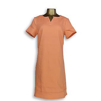 C. Wonder Dress Split Neck Short Sleeve Back Zipper Orange A287624
