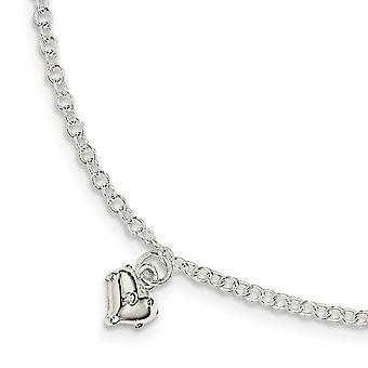 925 Sterling Silver for boys or girls Polished Heart With 1.5inch Ext. Bracelet - 5.5 Inch