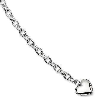 Rustfrit stål Fancy Hummer Lukning poleret åben link med Kærlighed Heart armbånd 8,5 tommer smykker Gaver til kvinder