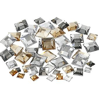 360 Assorted Silver Harmony Square Jewel Gem Stones for Crafts
