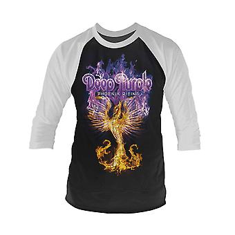 Deep Purple T Shirt Phoenix Rising new Official Mens White 3/4 Sleeve Baseball