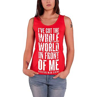 Sleeping With Sirens Vest band logo whole World Official Womens Skinny Fit Top