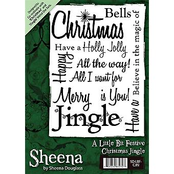 Sheena Douglass A6 Christmas Rubber Stamp - Christmas Jingle