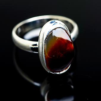 Mexican Fire Agate 925 Sterling Silver Ring Size 7  - Handmade Boho Vintage Jewelry RING976352