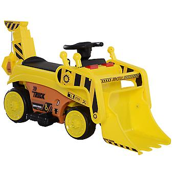 HOMCOM 6V Ride On Car Toy Bulldozer Digger Forward Reverse Lights Horn Music Player w/ Moving Front Excavator Scoop Yellow