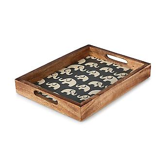 Penguin Home Elephant Print Wooden Serving Breakfast Bed Tray