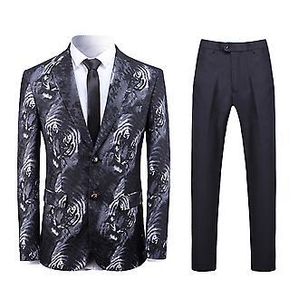 Allthemen mężczyźni ' s 2-częściowy garnitury wzór tygrysa Slim fit casual Blazer & spodnie