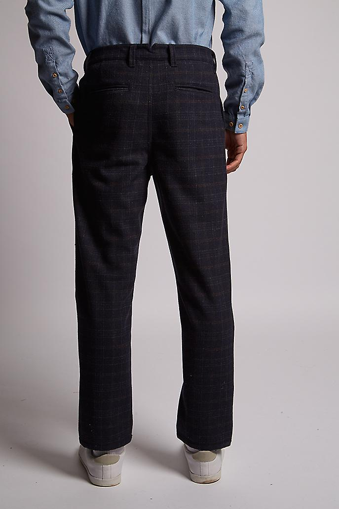 Hymn Hawtorn Check Wool Trouser Navy