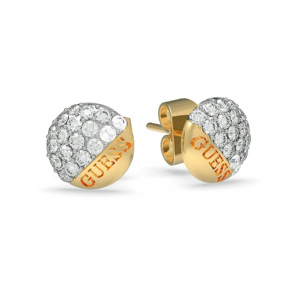 Guess Jewellery Guess Gold Pave Round Button Stud Earrings UBE78049