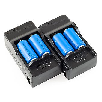 4 RCR123a Rechargeble Li-Ion Batteries & 2 AC Chargers for Arlo Security Cameras