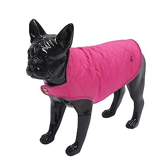 Joules Raspberry Quilted Dog Coat