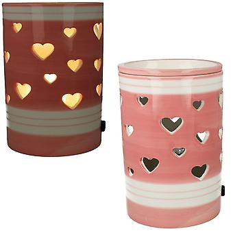 Village Candle Pink Heart Ceramic Electric Wax Burner VC856