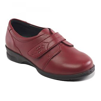 Padders Karla Ladies Leather Super Wide (4e/6e) Shoes Red