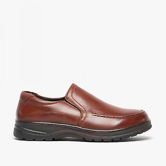 Dr Lightfoot Kole Mens Wide Fit Slip On Shoes Tan