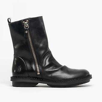 Fly London Fade966fly Ladies Leather Ankle Boots Black