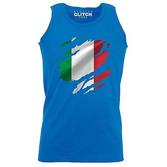 Reality glitch torn italy flag mens vest