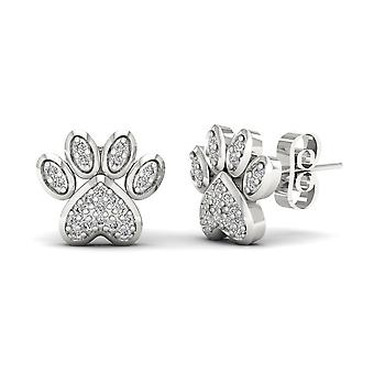 IGI Certified 10k White Gold 0.10 Ct Diamond Fashion Dog Paw Print Earrings