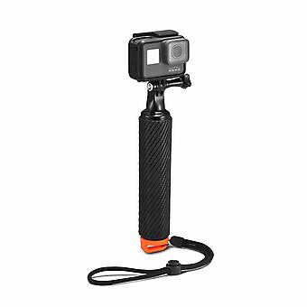 Floating handle with selfie stick to GoPro action camera