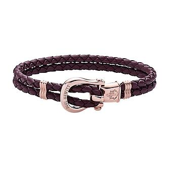 Paul Hewitt Ph-FSH-L-R-DM Bracelet - Steel IP Rose PHINITY Leather Violet