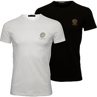 Versace 2-Pack kultowego załogi Neck koszulki, czarno biały