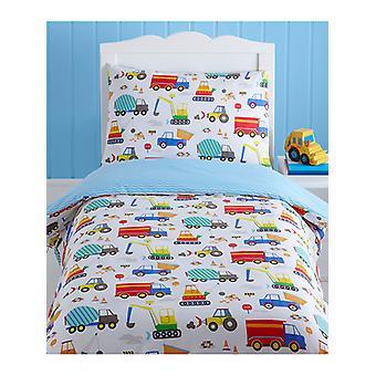 Bright last bilar 4 i 1 junior sängkläder Bundle (täcke, kudde och överdrag)