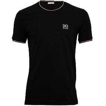 Dolce & Gabbana bordado DG King Camiseta, Negro/oro