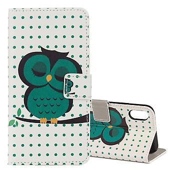 Voor iPhone XS, X Wallet Case, Sleepy Owl Beschermende Lederen Hoes van hoge kwaliteit