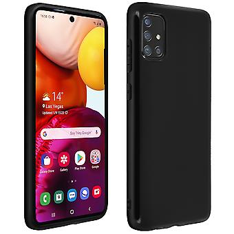 Silicone case, Glossy & matte back cover for Samsung Galaxy A51 - Black