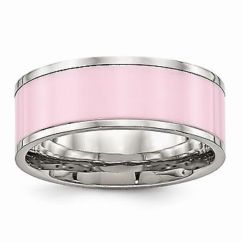 7.5mm Stainless Steel Polished Pink Ceramic Ring Jewelry Gifts for Women - Ring Size: 5 to 9