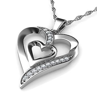 Double heart necklace - 925 sterling silver jewellery pendant dephini
