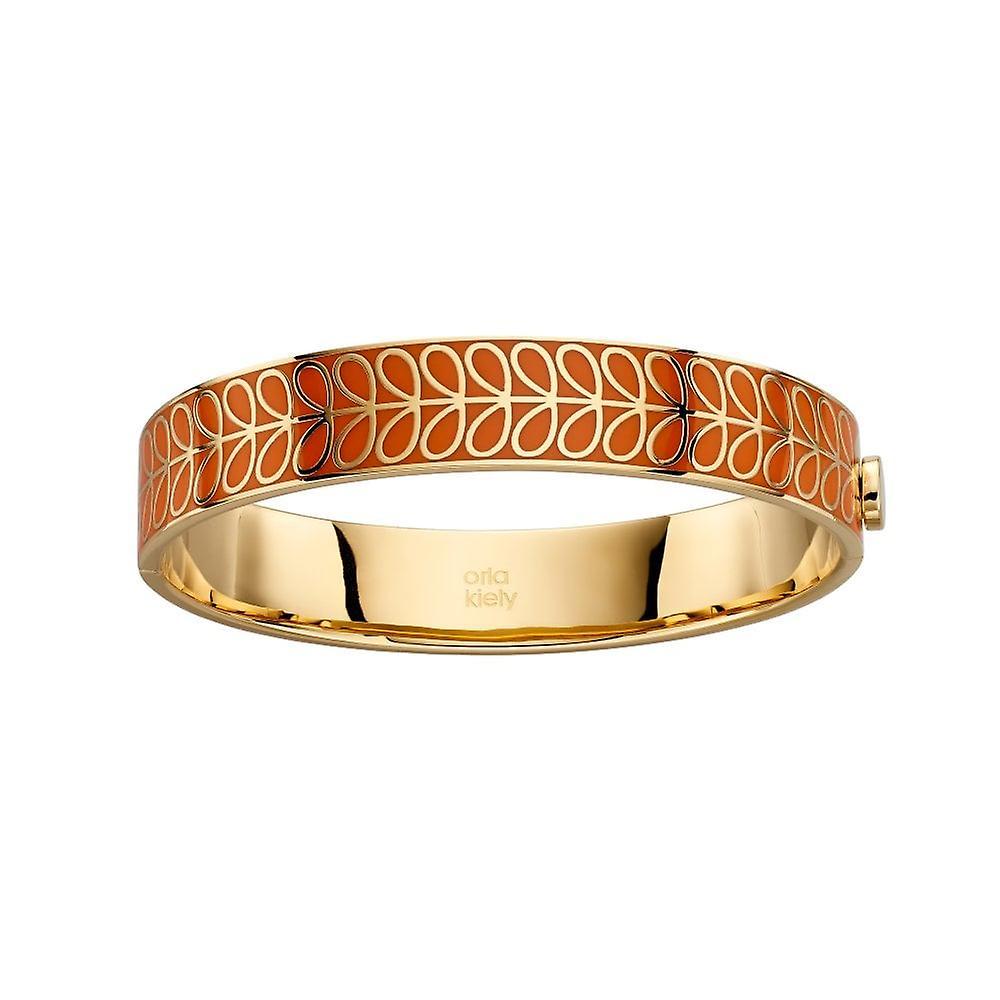 Orla Kiely Gold Plated & Orange Enamel Stem Bangle B5156